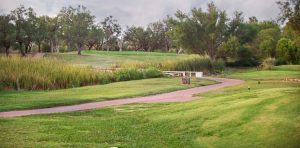 A path winds at the Sweetwater Country Club golf course.